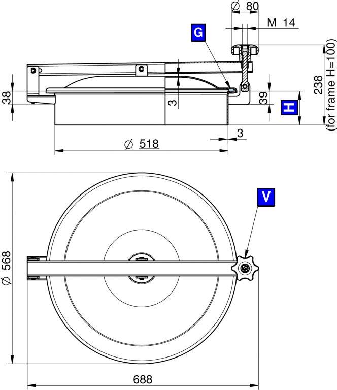 Búvónyílás felső kerek 520 mm kifelenyíló (TV/500)