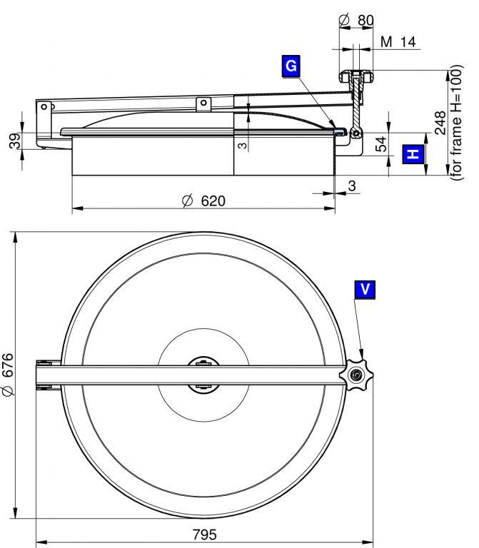 Búvónyílás felső kerek 620 mm kifelenyíló (TV/600)