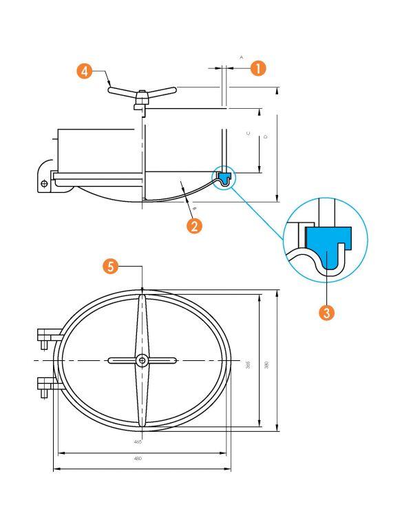 Búvónyílás alsó ovális 340 x 440 mm befelé nyíló (6001) - PED 2014/68/EU