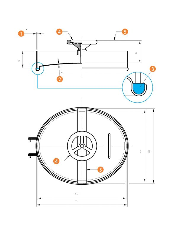 Búvónyílás alsó ovális 410 x 510 mm befelé nyíló (6003A)