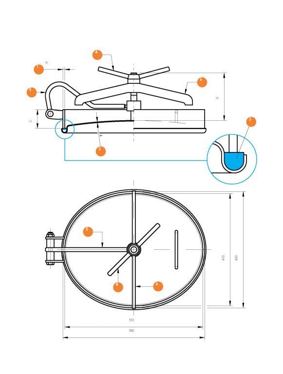 Búvónyílás alsó ovális 410 x 510 mm befelé nyíló (6003)