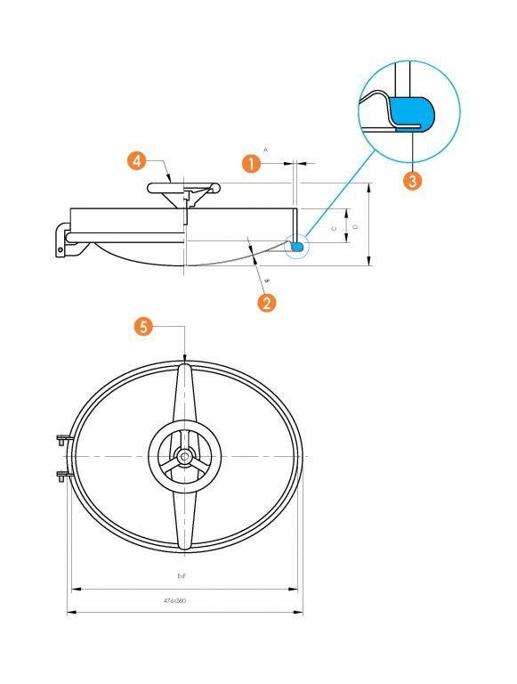 Búvónyílás alsó ovális 350 x 450 mm befelé nyíló (6004)