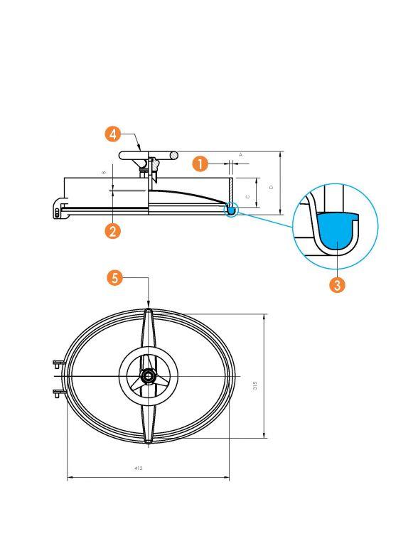 Búvónyílás alsó ovális 315 x 412 mm befelé nyíló (6006D)