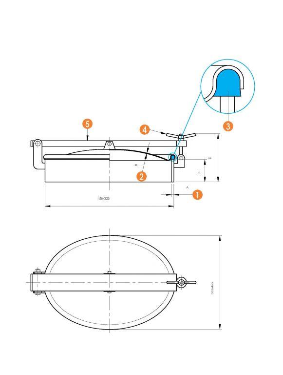 Búvónyílás alsó ovális 310 x 445 mm kifelé nyíló (6007D)