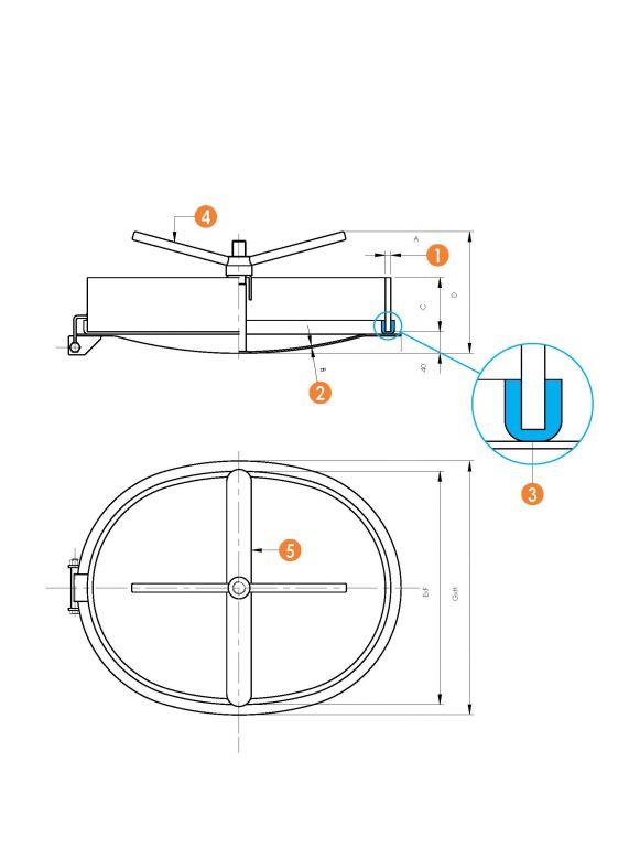 Búvónyílás alsó ovális 410 x 540 mm befelé nyíló (6007P)