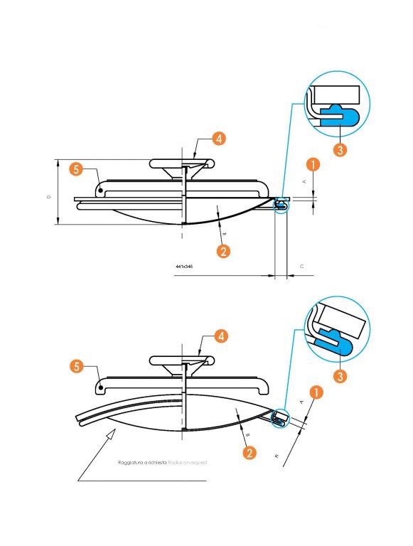 Búvónyílás alsó ovális 340 x 440 mm befelé nyíló (6008ECO)