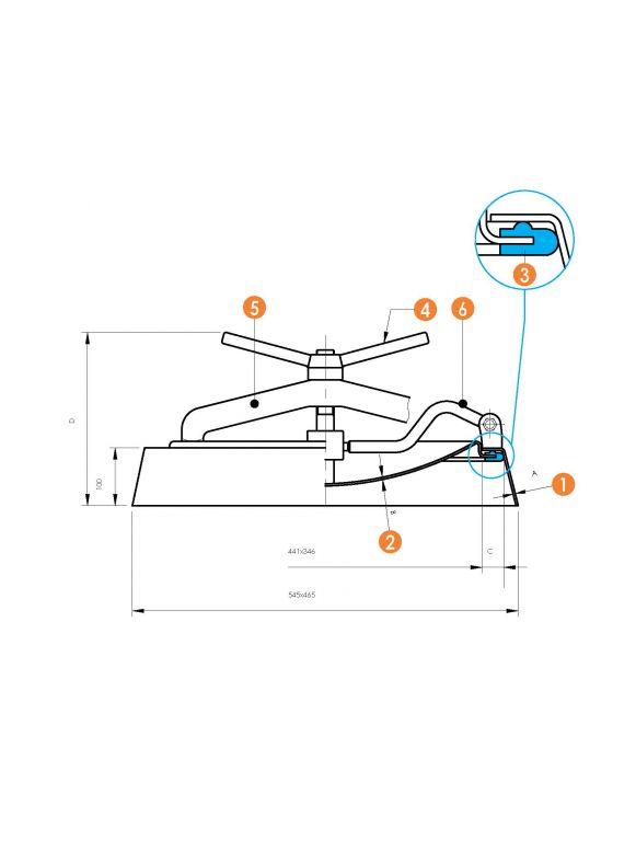 Búvónyílás alsó ovális, csuklós karral 340 x 440 mm befelé nyíló (6009A)