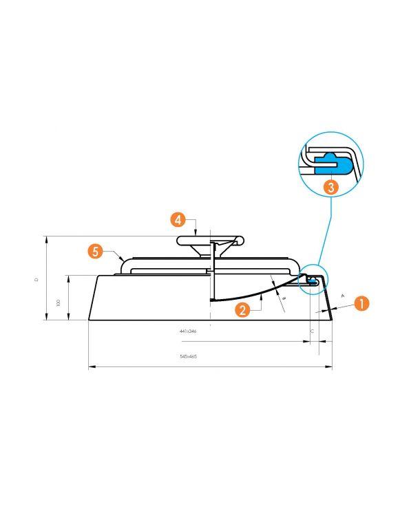 Búvónyílás alsó ovális 340 x 440 mm befelé nyíló (6009 ECO)