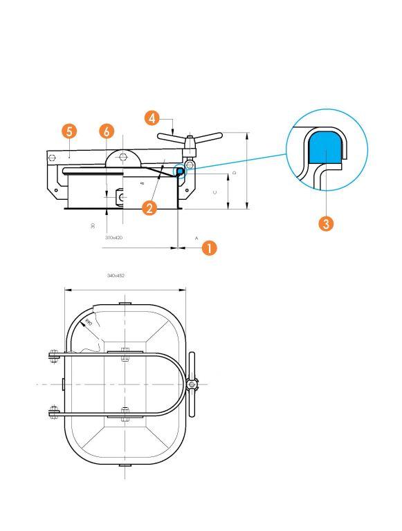 Búvónyílás alsó négyszögletes 310 x 420 mm kifelé nyíló (6010CM)
