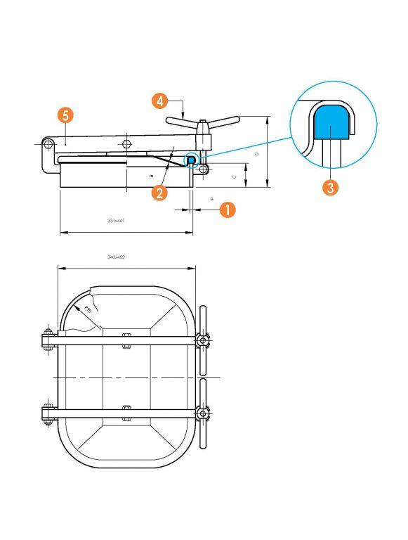 Búvónyílás alsó négyszögletes, vízszintes, 310x420 mm kifelenyíló (6010G-H)