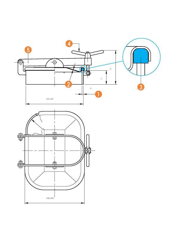 Búvónyílás alsó négyszögletes 310x420 mm kifelenyíló (6010)