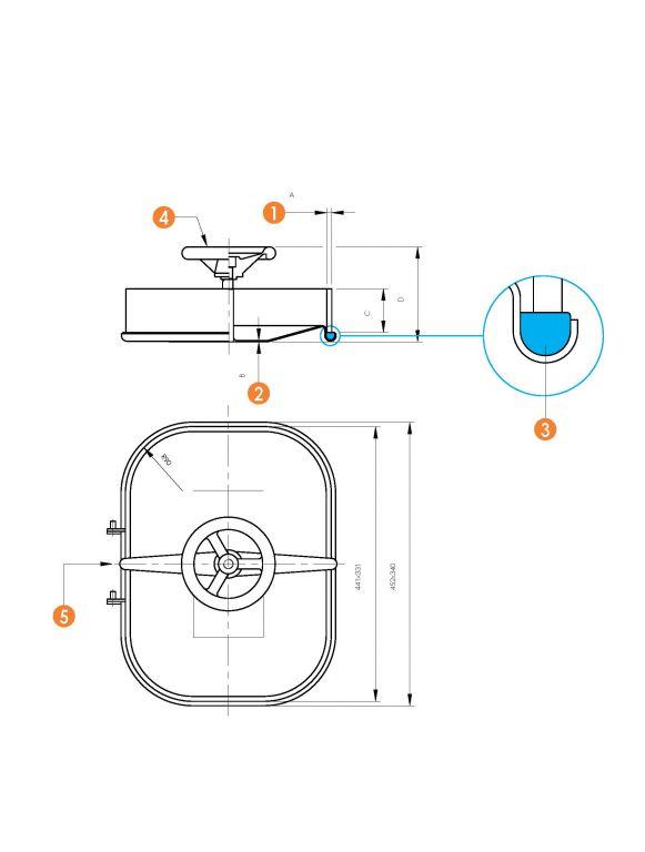 Búvónyílás alsó négyszögletes 310x420 mm befelenyíló (6011)