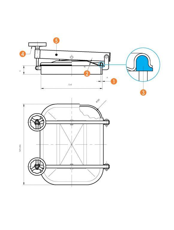 Búvónyílás alsó négyszögletes 410x530 mm kifelenyíló (6012ECO)