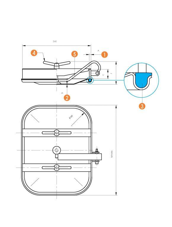 Búvónyílás alsó négyszögletes 410x530 mm kifelenyíló (6012E)