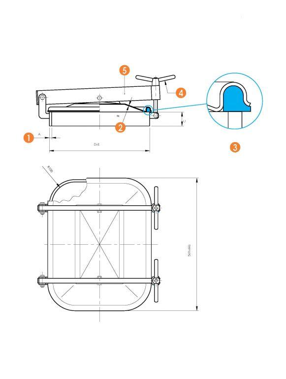 Búvónyílás alsó négyszögletes 410x530 mm kifelenyíló (6012)