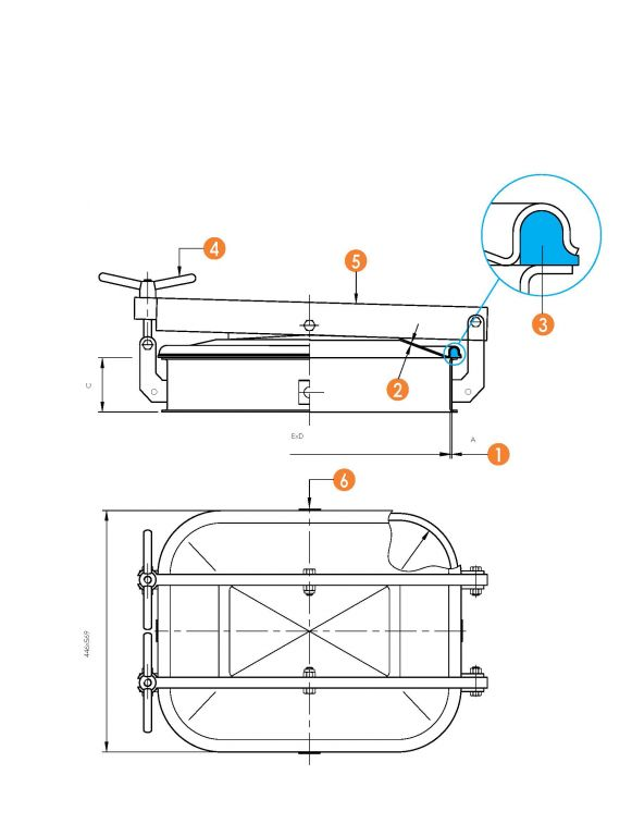 Búvónyílás alsó négyszögletes, vízszintes, 410x530 mm kifelenyíló (6013CM)