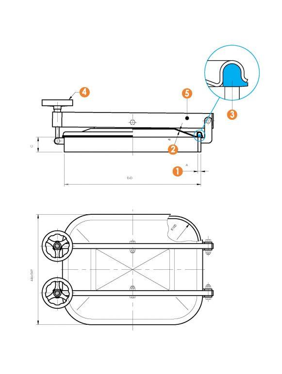 Búvónyílás alsó négyszögletes, vízszintes, 410x530 mm kifelenyíló (6013ECO)
