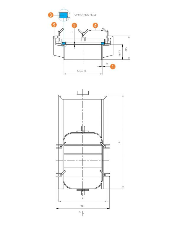 Búvónyílás négyszögletes guillotine ajtóval 610 x 810 mm (6015 G)