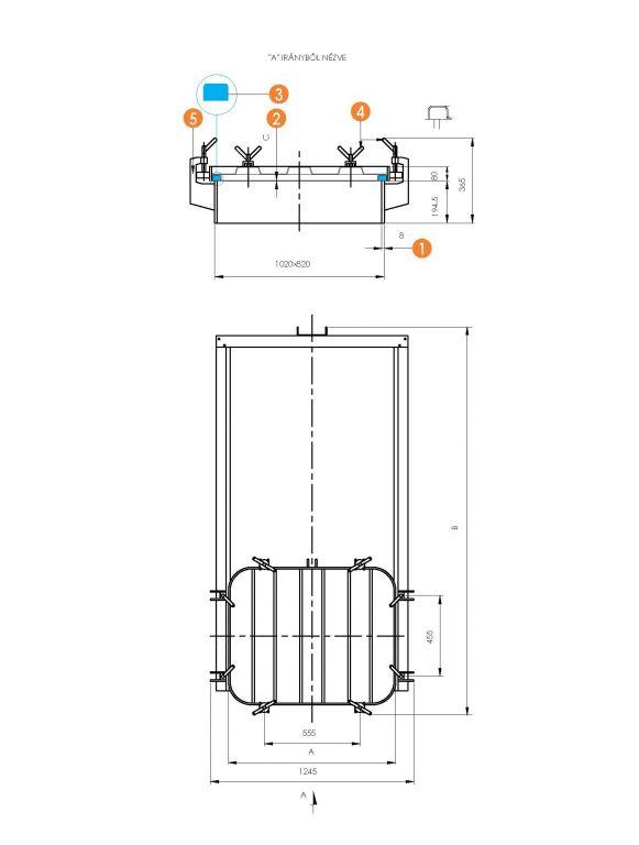 Búvónyílás négyszögletes guillotine ajtóval 800 x 1000 mm (6015 L)