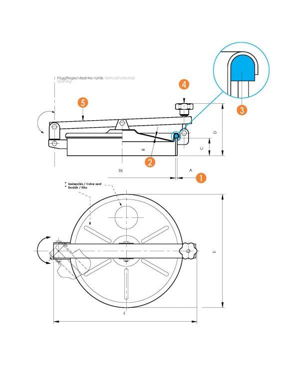 Búvónyílás kerek oldalsó lengőnyílással és hátsó nyílással (6020)