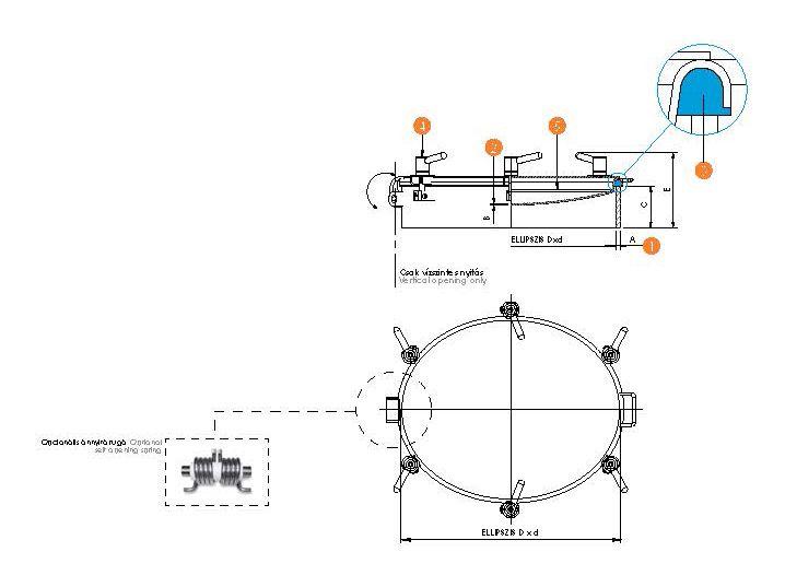 Búvónyílás ovális, szigetelt fedéllel (6023 H10/11)