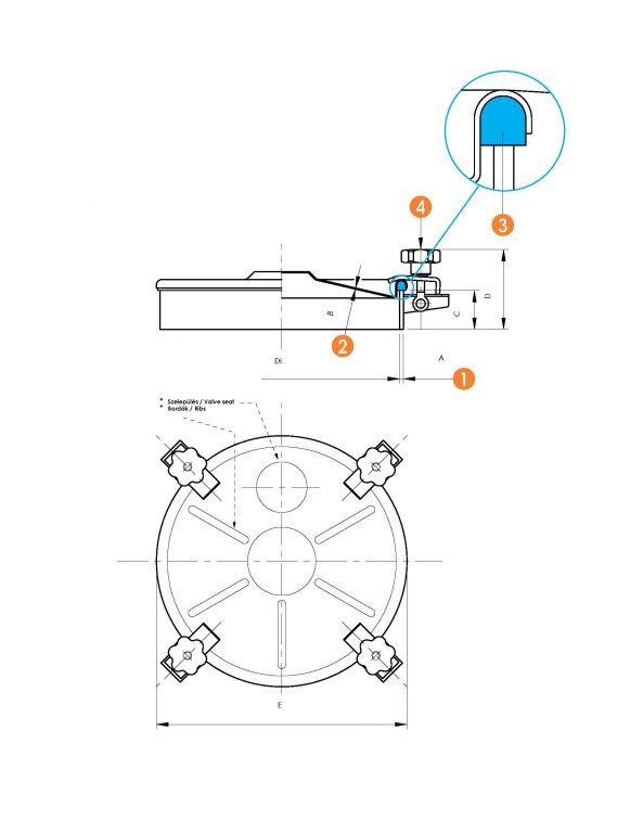 Búvónyílás felső kerek, periférikus zárakkal (6024)
