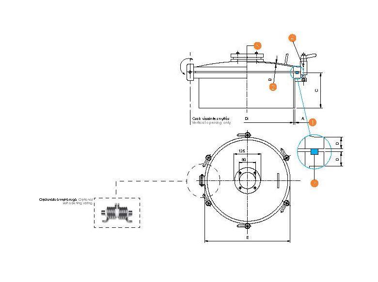 Búvónyílás kerek periférikus zárakkal és nézőüveggel (6025P)