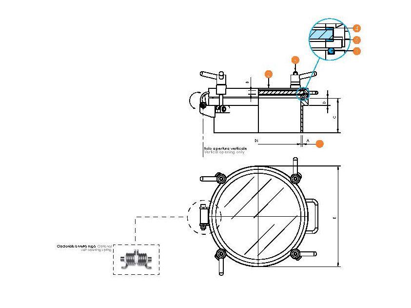 Búvónyílás kerek teljes nézőüveggel és periférikus zárakkal (6025V)