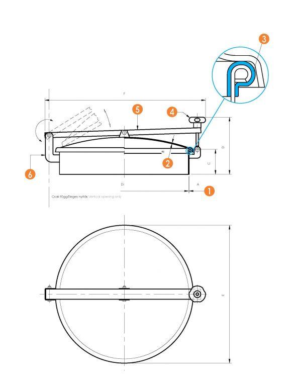 Búvónyílás kerek hátsó nyílással (6027 A ECO)