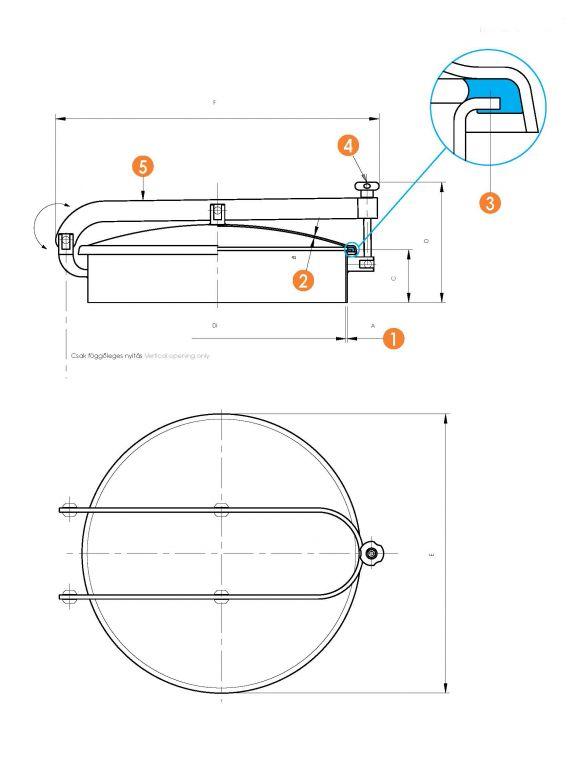 Búvónyílás kerek dupla karral (6028E)