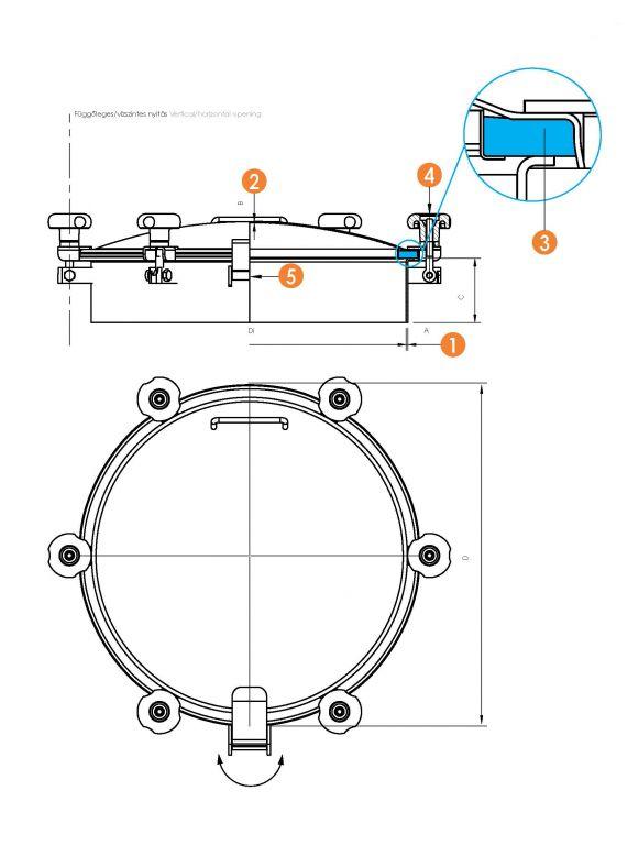 Búvónyílás kerek periférikus zárakkal (6028F)