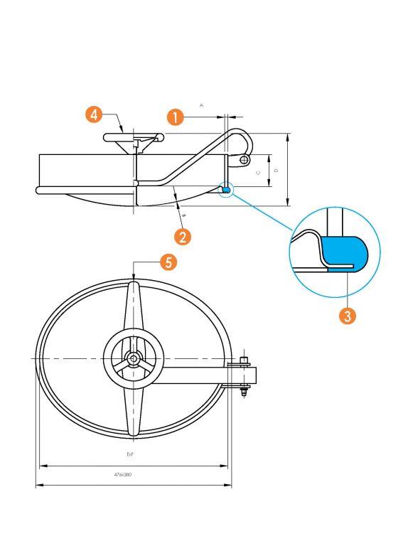 Befelé nyíló ovális búvónyílás 350 x 450 mm (6005)