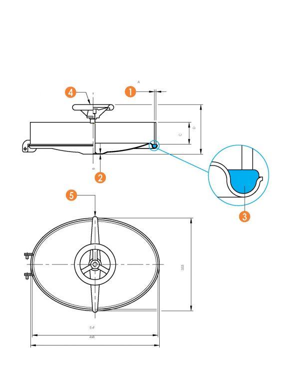 Búvónyílás alsó ovális 310 x 445 mm befelé nyíló (6006)