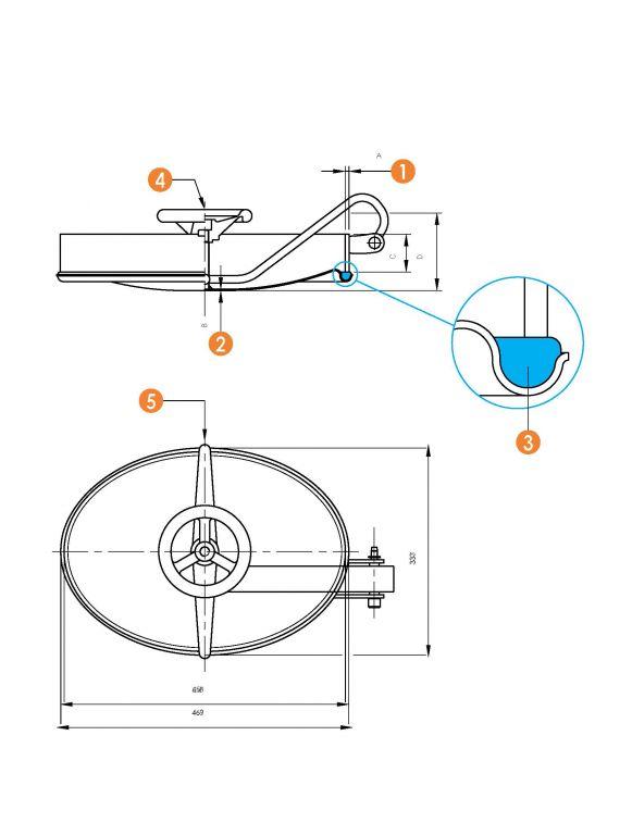 Befelé nyíló ovális búvónyílás 310 x 445 mm (6007)