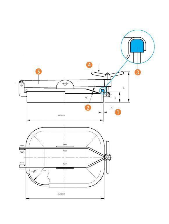 Kifelé nyíló négyszögletes, vízszintes búvónyílás 310 x 420 mm (6010 E)