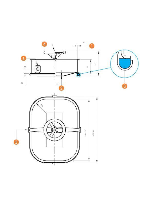 Befelé nyíló négyszögletes búvónyílás 310 x 420 mm (6011CM)