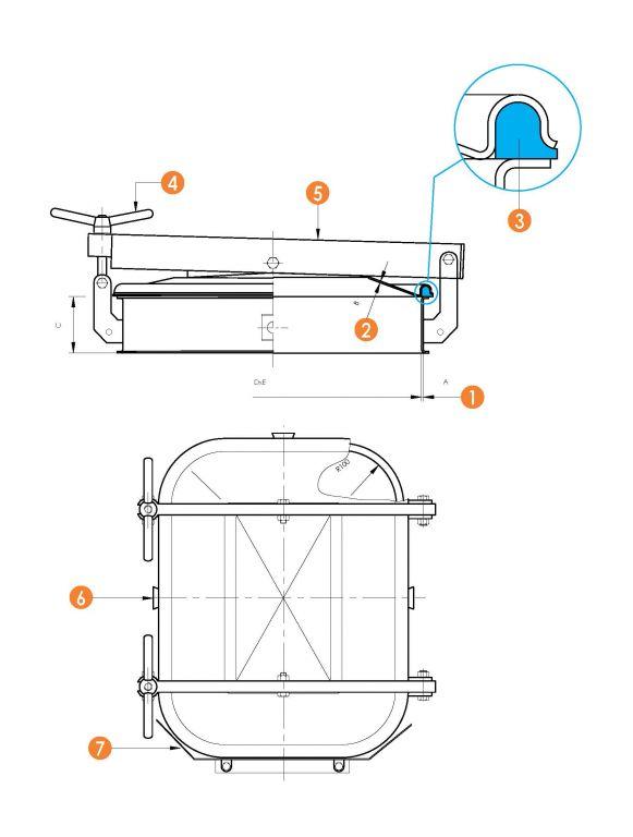 Búvónyílás alsó négyszögletes 410 x 530 mm kifelé nyíló (6012CM)