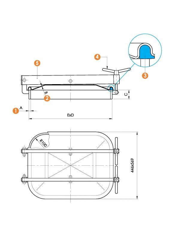 Kifelé nyíló négyszögletes, vízszintes búvónyílás 410 x 530 mm (6013)