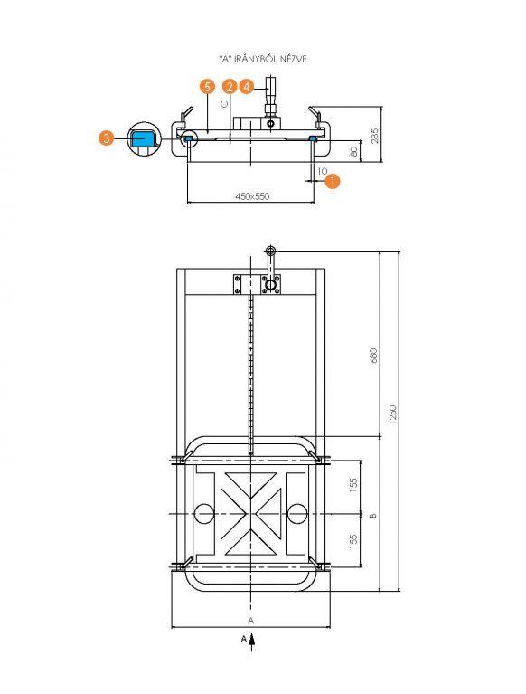 Búvónyílás négyszögletes guillotine ajtóval 403 x 530 mm (6015B)
