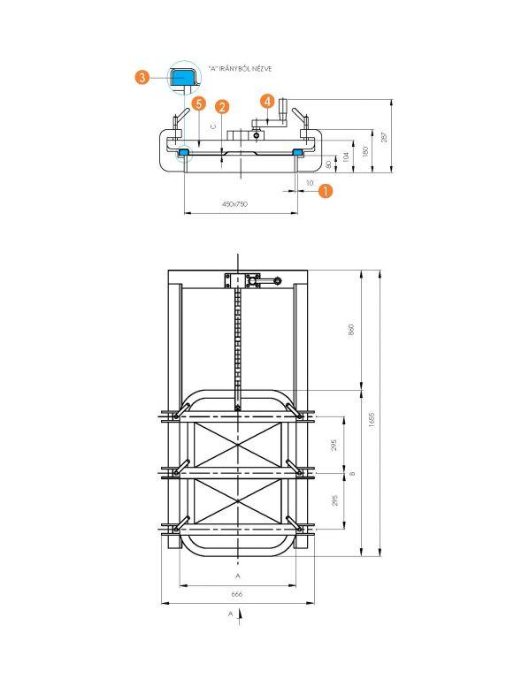 Négyszögletes búvónyílás guillotine ajtóval 430 x 730 mm (6015E)