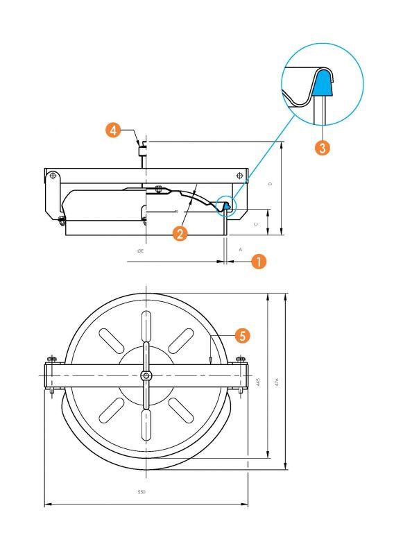Kifelé nyíló kerek búvónyílás Ø 420 mm (6017)