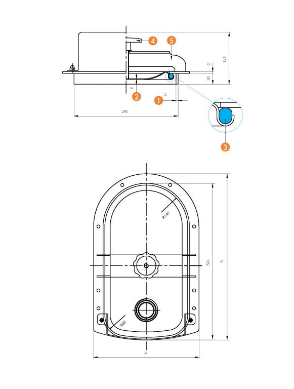 Búvónyílás karimával, fához való rögzítéshez 240 x 470 mm (6018F)