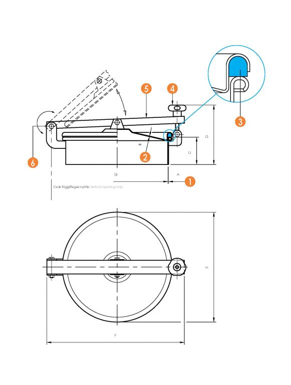 Kerek búvónyílás hátsó nyílással (6022ECO)