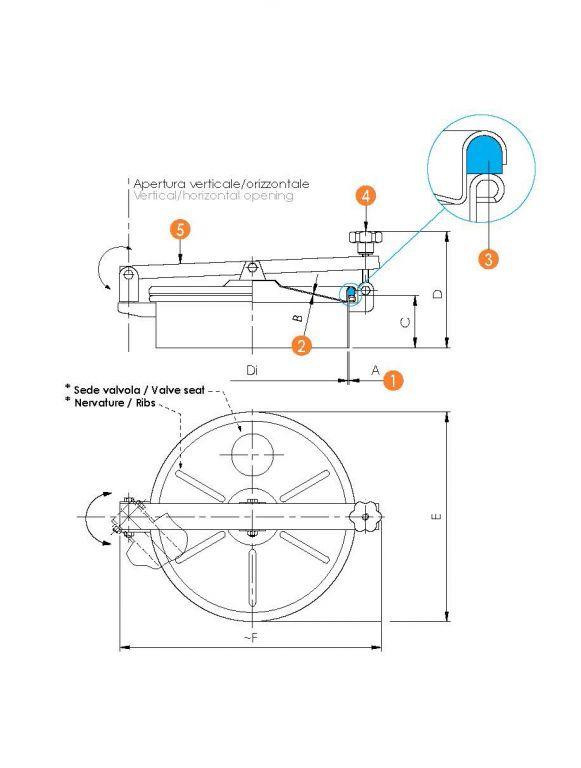 Kerek búvónyílás oldalsó lengőnyílással és hátsó nyílással (6022)