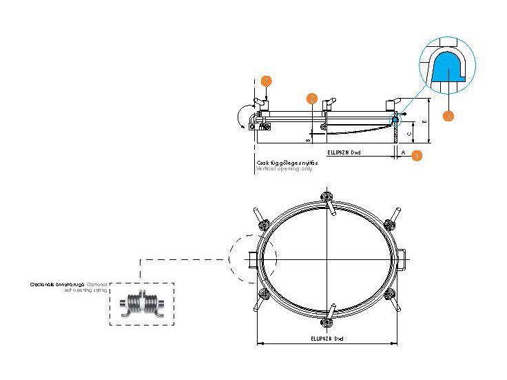 Búvónyílás ovális, periférikus zárakkal (6023F)