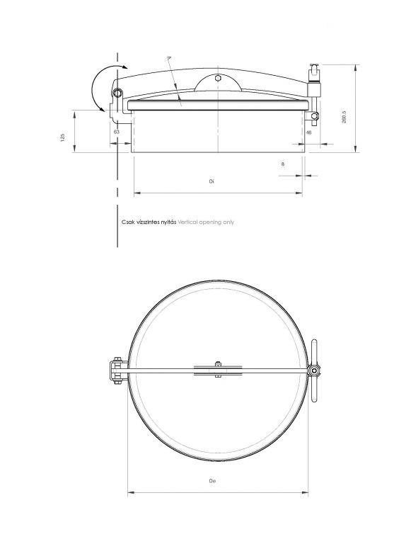 Kerek búvónyílás hátsó nyílással (6025RM)