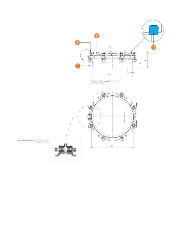 Búvónyílás kerek periférikus zárakkal - PED (6025RP)