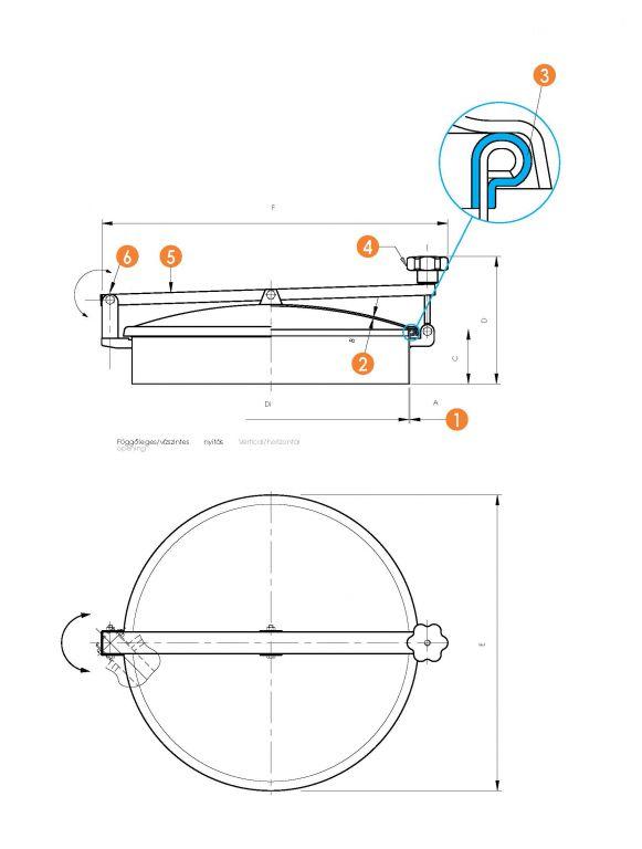Búvónyílás kerek oldalsó lengőnyílással és hátsó nyílással (6027A)