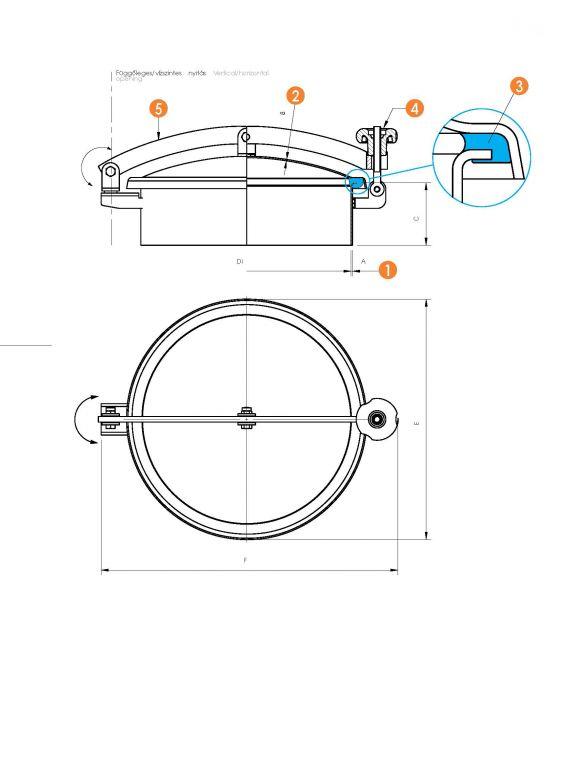 Kerek búvónyílás oldalsó lengőnyílással és hátsó nyílással (6027E)