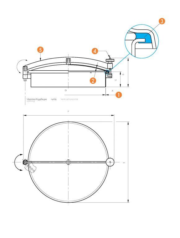 Kerek búvónyílás oldalsó lengőnyílással és hátsó nyílással (6027L)